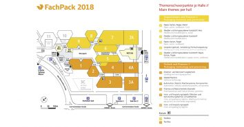 Die FachPack 2018 belegt 12 Hallen.